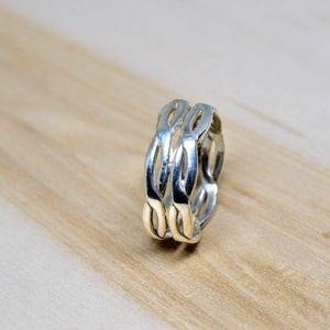 Handmade .925 Sterling Silver Braided Double Ring